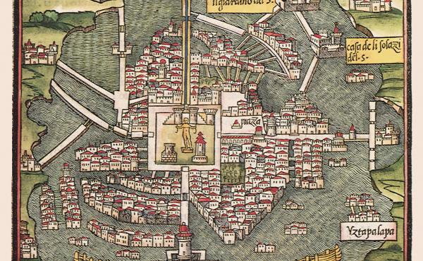 An Italian rendering of Tenochtitlán from 1528.