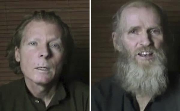Australian Timothy Weeks, (left), and American Kevin King were abducted by insurgents in Kabul in August 2016. They are seen here in video stills released by the Taliban in June 2017.