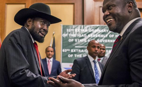 South Sudan's President Salva Kiir, left, and opposition leader Riek Machar, right, met for peace talks in Addis Ababa, Ethiopia.