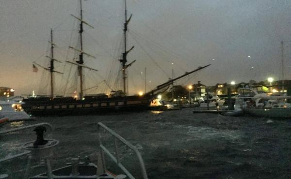 SSV Oliver Hazard Perry ran aground in Newport's Narragansett Bay after losing engine power late Sunday.
