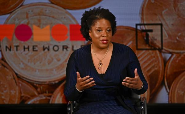 Tayari Jones speaks onstage at the Women In The World Summit earlier this year in in New York City. On Wednesday, Jones' novel An American Marriage won the prestigious Women's Prize for Fiction.