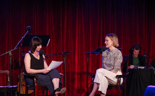Ask Me Another host Ophira Eisenberg chats with Taylor Schilling at the Bell House in Brooklyn, New York.