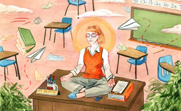 Teacher meditates on top of her desk as chaos ensues around her.