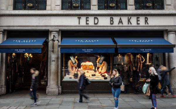 "A branch of Ted Baker stands on Regent Street in London, England. Ted Baker's CEO Ray Kelvin resigned after people who worked with him complained of ""forced hugging."""