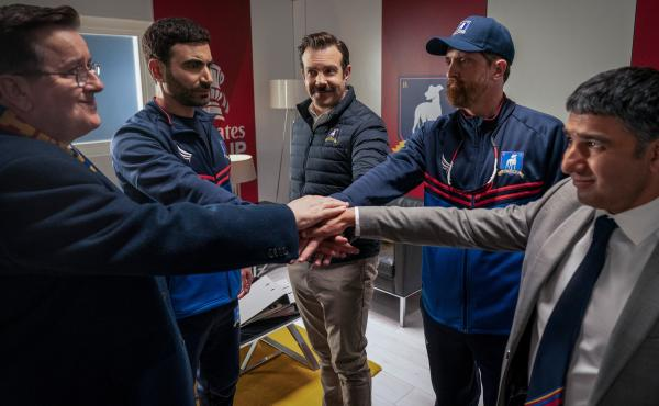 Higgins (Jeremy Swift), Roy (Brett Goldstein), Ted (Jason Sudeikis), Beard (Brendan Hunt) and Nate (Nick Mohammed) are all-in for the game against Man City.