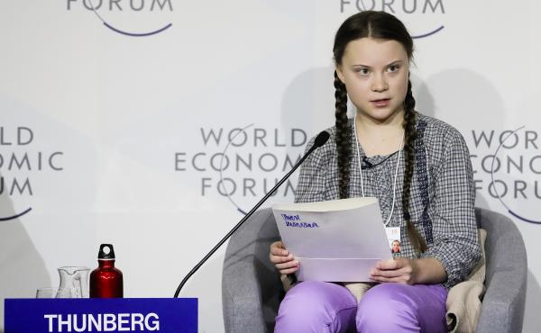 Climate activist Greta Thunberg delivers a speech at the World Economic Forum in Davos, Switzerland.