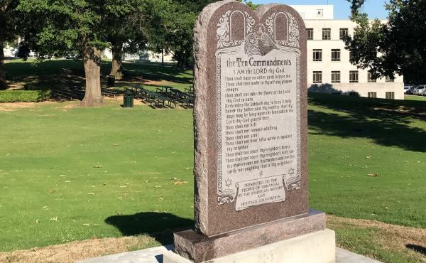 A six-foot-tall privately funded Ten Commandments monument on the Arkansas Capitol grounds in Little Rock today.