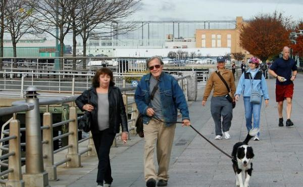 Paula and Ron Faber walk their dog Millie in 2009, between cancer diagnoses.