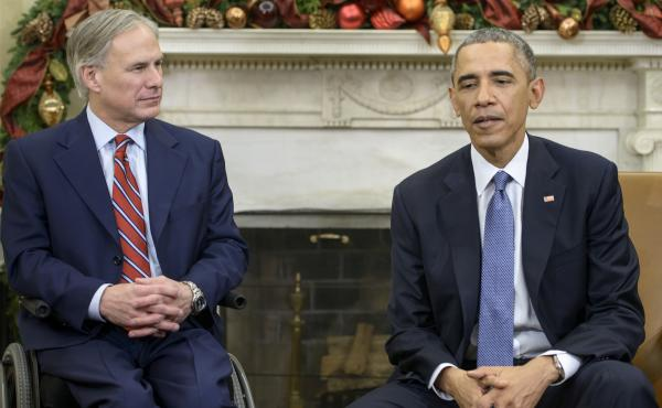 Only Gov. Abbott, pictured here with Obama, opened the package. But because it was not opened as designed, the homemade device did not explode.