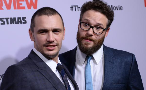 James Franco (left) and Seth Rogen, stars of The Interview, arrive for the film's Los Angeles premiere on Dec. 11. The comedy about a CIA plot to assassinate North Korean leader Kim Jong Un was pulled from theaters after a cyberattack on Sony Pictures, th