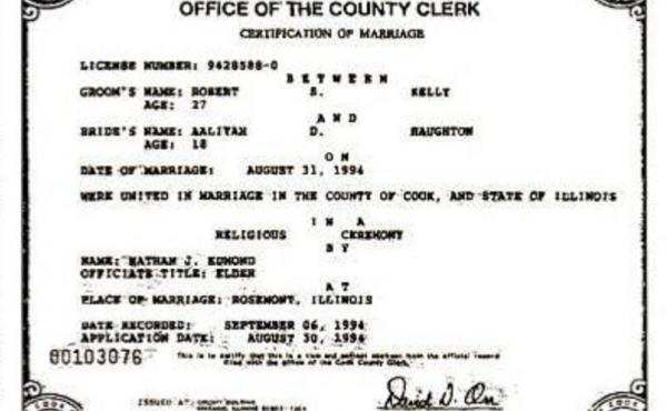 The marriage certificate, seen here in an image obtained by Chicago member station WBEZ, was issued by Cook County, Ill., in 1994.