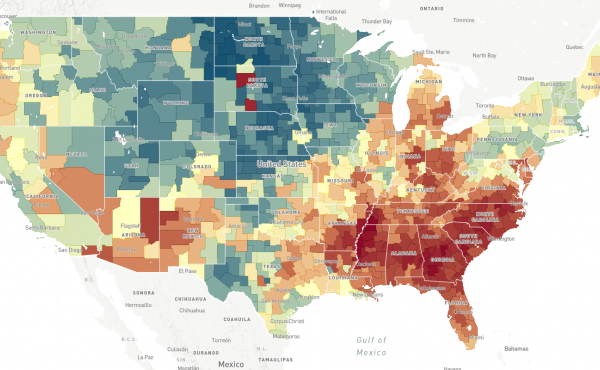 This map, a screenshot from The Opportunity Atlas, shows household income in 2014-2015 for people born between 1978 and 1983 to low-income parents. In areas that are more red, people who grew up in low-income households tended to stay low-income. In areas