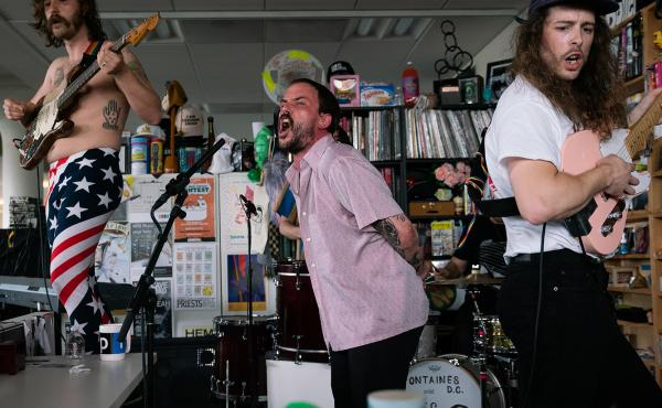 Idles plays a Tiny Desk Concert on May 13, 2019 (Claire Harbage/NPR).