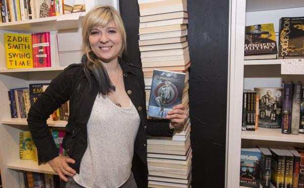 Lani Sarem poses with her novel Handbook for Mortals at the release party for the book in Chicago earlier this month.