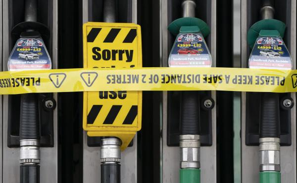 At petrol station in Manchester, England is tapped out on Tuesday. In greater London, however, the vast majority of service stations remained dry for yet another day.
