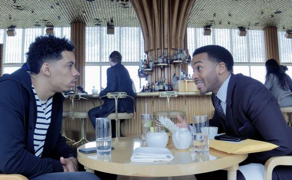 Melvin Gregg as Erick Scott and André Holland as Ray Burke in High Flying Bird, directed by Steven Soderbergh.