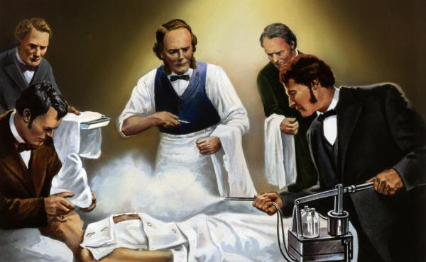 Joseph Lister directing the use of carbolic acid spray in one of his earliest antiseptic surgical operations, circa 1865.