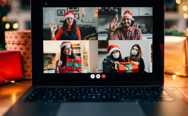 A video call on a laptop screen during Christmas. The Centers for Disease Control and Prevention released new guidance on Friday for safely celebrating the upcoming holiday season.