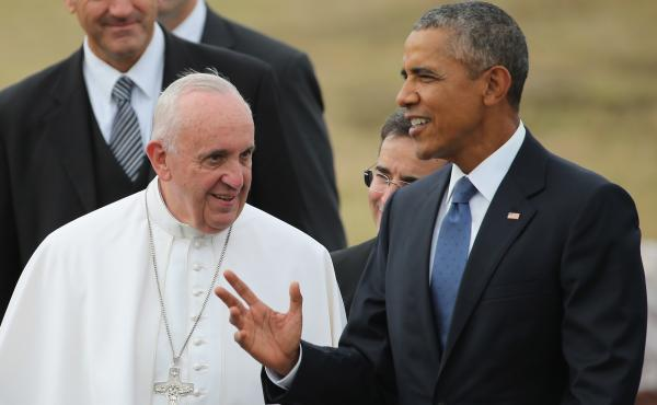 Pope Francis is greeted by President Obama after arriving outside Washington, D.C., on Tuesday.