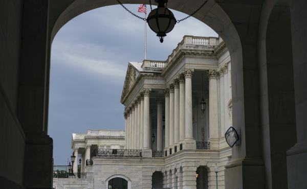 The East Front of the Capitol is seen from the Senate side.