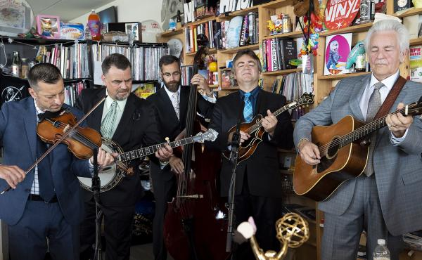 Del McCoury performs a Tiny Desk Concert on July 11, 2018 (Samantha Clark/NPR).