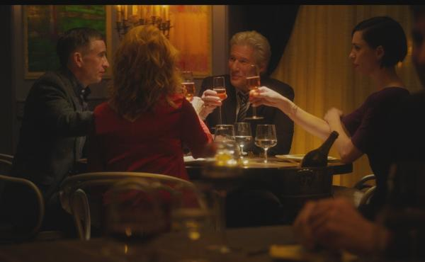 """""""Go on, do your Michael Caine!"""": Paul (Steve Coogan), Claire (Laura Linney), Stan (Richard Gere) and Katelyn (Rebecca Hall) get toasted in The Dinner."""