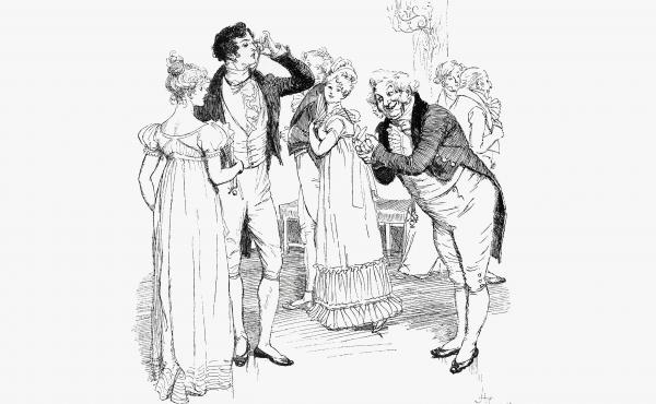 An 1894 engraving depicts chapter 18 of Jane Austen's Pride and Prejudice.