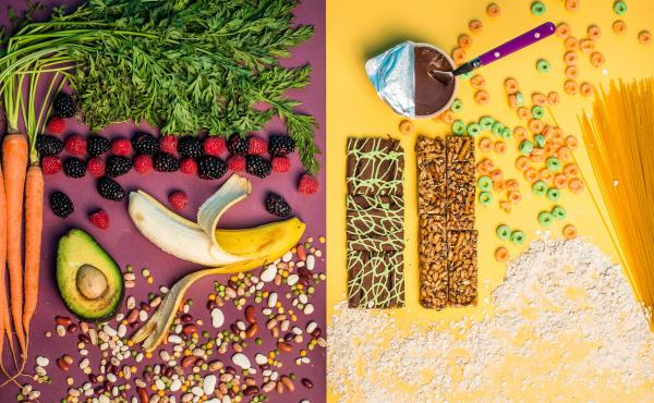The foods on the left contain naturally occurring fibers that are intrinsic in plants. The foods on the right contain isolated fibers, such as chicory root, which are extracted and added to processed foods. The FDA will determine whether added fibers can