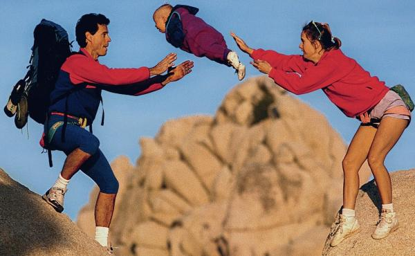 This 1991 photo became famous in the climbing community after appearing in a 1995 Patagonia catalog. Almost three decades after the photo was taken, Jordan Leads, the baby pictured, is grown up and tells NPR about her perspective on the photo.