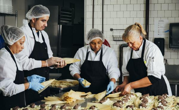 From left: Gloria Amaya, José Amaya, Silvia Gómez, and Alicia Villanueva, the founder of Tamales Los Mayas. A graduate of La Cocina's program for food entrepreneurs, Villanueva now provides catering to scores of Bay Area companies each month, and her ta