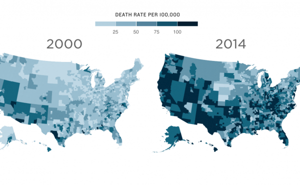 Deaths by drugs, alcohol and suicide among non-Hispanic whites, ages 45-54