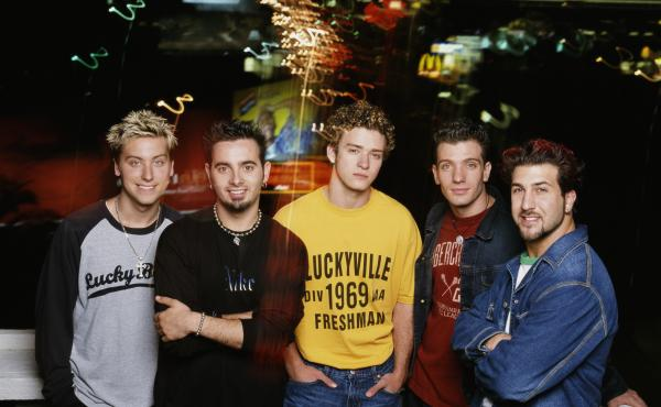 NSYNC in early 2001. Left to right: Lance Bass, Chris Kirkpatrick, Justin Timberlake, JC Chasez and Joey Fatone.