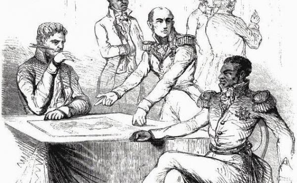 The Baron de Mackau of France presenting demands to Jean-Pierre Boyer, President of Haiti, in 1825