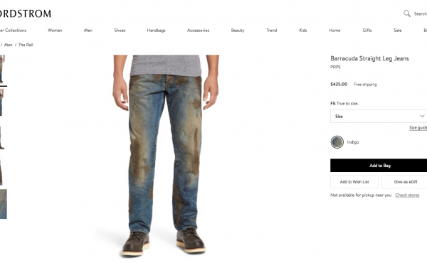 """Nordstrom is selling jeans with a """"caked-on muddy coating"""" for $425."""