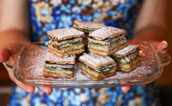Idan Cohen's grandmother's famous German layer cake. Idan's mom always said that the Israeli climate did not agree with this cake, but she made it anyway.