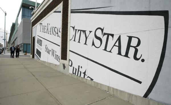 A mural on the wall of The Kansas City Star's circulation building in 2006, in Kansas City, Mo.