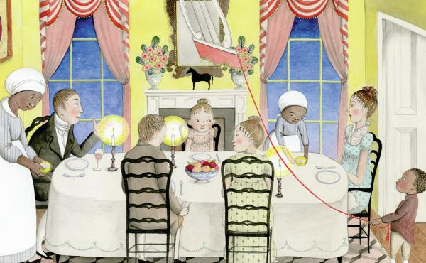 A Fine Dessert, Dinner Scene, illustrated by Sophie Blackall
