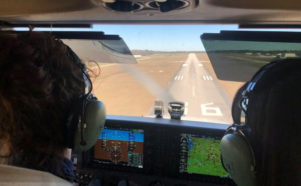 Pilot training is some of the most rigorous of all modes of transportation. Elizabeth White (L) practices landings with instructor Megan Brown at the airport in Auburn, Ala.