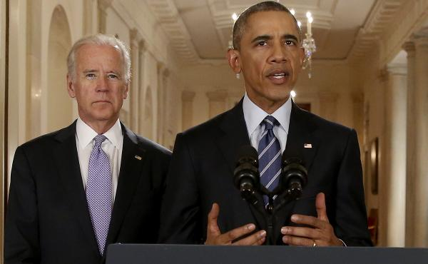 President Obama, standing with Vice President Joe Biden, delivers a statement about the nuclear deal reached between Iran and six major world powers during an address from the White House on Tuesday.