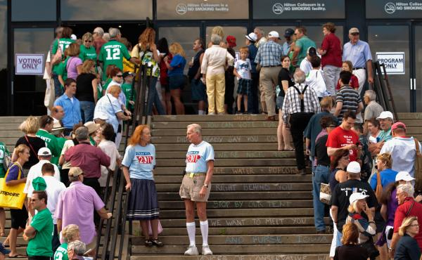 Voters line up outside the Hilton Coliseum at Iowa State University on Aug. 13, 2011, to vote in the Iowa Straw Poll.