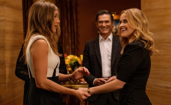 Jennifer Aniston, Billy Crudup and Reese Witherspoon in The Morning Show. Season 2 is premiering on Apple TV+.