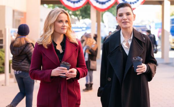 Bradley (Reese Witherspoon) and Laura (Julianna Margulies) do some talking at the Iowa caucuses.