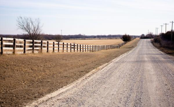 The gravel road leading to Debbie and Bill Scroggins' house, outside Wichita, Kan.