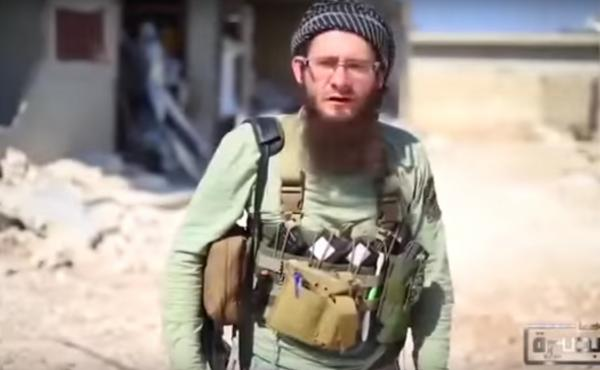 A screenshot of Lucas Kinney, a 26-year-old Briton who recently began making videos for Jabhat al-Nusra, the al-Qaida affiliate in Syria. Kinney's father is a veteran Hollywood assistant director who helped make such films as Rambo and the Indiana Jones s