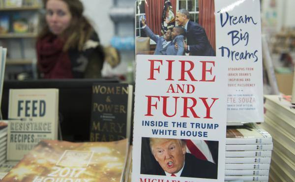 A copy of Fire and Fury sits on display at a bookstore in Washington, D.C., on Friday. The book was rushed into bookstores and onto e-book platforms because of demand and the threat of a lawsuit from President Trump.