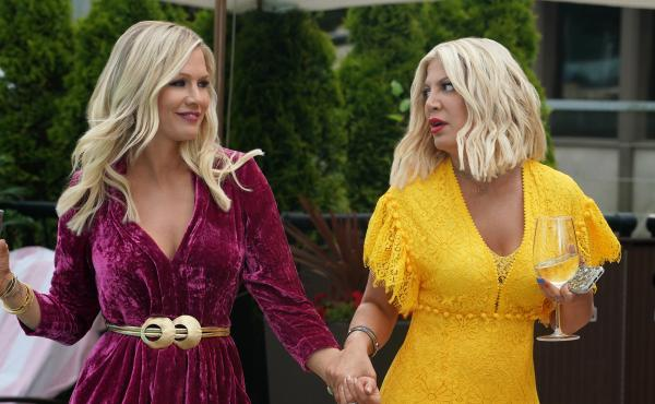 Jennie Garth and Tori Spelling play themselves in BH90210, which both is and isn't a Beverly Hills, 90210 reboot. It's complicated.