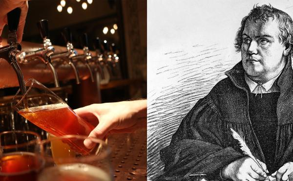 Left: A bartender at Hops & Barley brew pub pours a pint of beer in Berlin, Germany. Right: A portrait of Martin Luther. The protest that Luther launched 500 years ago not only revamped how Europe worshiped, but also how it drank. He and his followers pro
