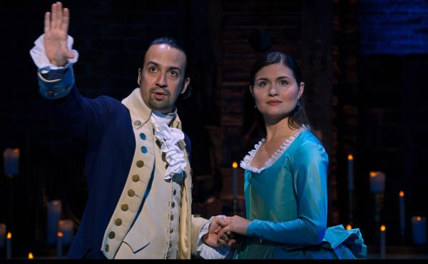 Lin-Manuel Miranda and Phillipa Soo return as Alexander and Eliza Hamilton, the roles they played in the original Broadway production of Hamilton. A film production of the show, taped in 2016, debuts on Disney+ on Friday.