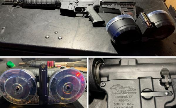 "The gun used in the Dayton shooting (top) has a barrel that's shorter than the federal minimum for a rifle. Legally classified as a pistol, it was fed by a 100-round ""double drum"" magazine (lower left). A close-up of the gun's lower receiver (bottom right"