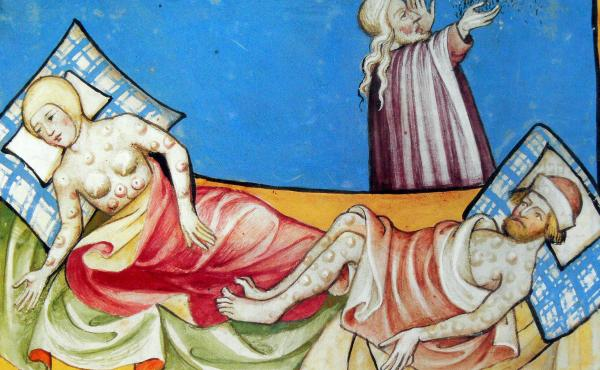 "A 15th-century Bible depicts a couple suffering from the blisters of bubonic plague. The same bacterium that ravaged medieval Europe, where the disease was known as the ""black death,"" occasionally re-emerges."